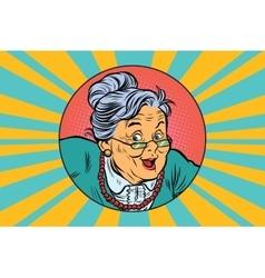 joyful intelligent grandmother pop art vector image