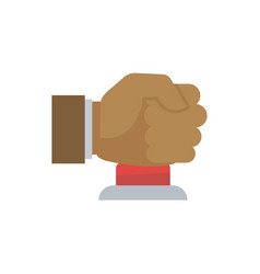 Male hand in fist pressing big red button vector
