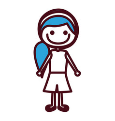 hand drawing silhouette girl with blue side vector image