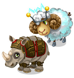 Sheep with transmitter on head and rhino in armor vector