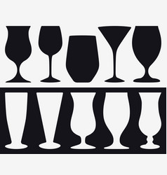 Set silhouettes of different types of glasses vector