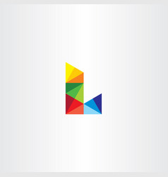 Letter l colorful triangles logo icon vector
