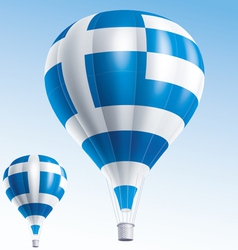 Hot balloons painted as greece flag vector