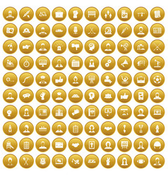 100 team work icons set gold vector image