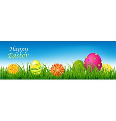 Happy easter banner with grass and eggs vector