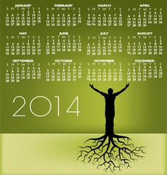 2014 tree Man Roots Calendar vector image vector image