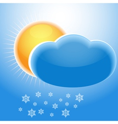 Sun cloud and snowflakes vector image