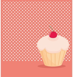 Cherry cupcake on white polka dots pink background vector