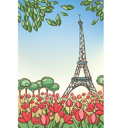 Paris card eiffel tower vector