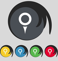 Map pointer gps location icon sign symbol on five vector