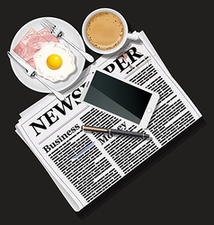 Newspaper and cell phone with coffee and breakfast vector