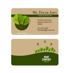 Modern business card template with nature vector image