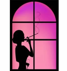 silhouette window vector image