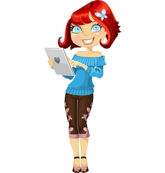 Cute red haired girl vector