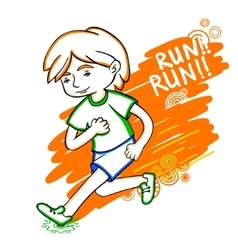 Run boy color vector