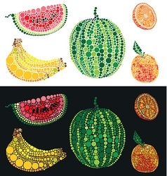 Fruit from circles watermelon orange and banana vector