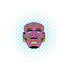 Tribal mask icon comics style vector