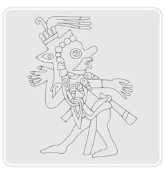 monochrome icon with symbols from Aztec codices vector image