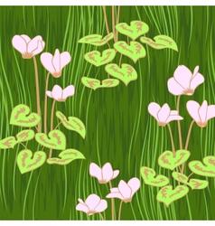 seamless ciklamen flowers pattern background vector image