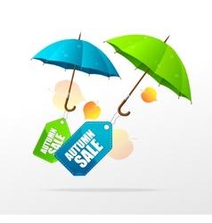 Autumn sale labels with umbrellas vector