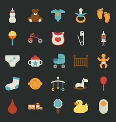 Baby icons with black background vector