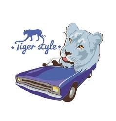blue tiger violet car driver vector image