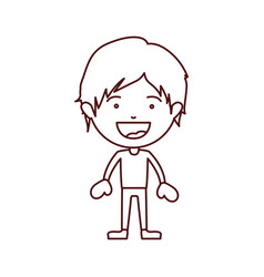 Brown color contour of smiling boy standing with vector