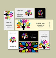 Business cards collection art tree design vector