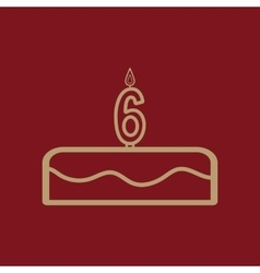 Cake with candles in the form of number 6 icon vector
