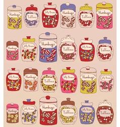 Candies in glass jars vector