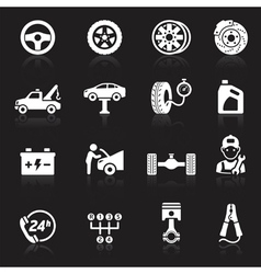 Car service maintenance white icon vector
