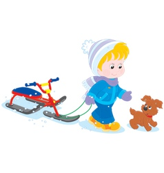 Child with a snow scooter and pup vector