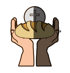 color silhouette of hands holding bread with vector image