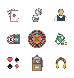 Colored outline various gambling icons collection vector