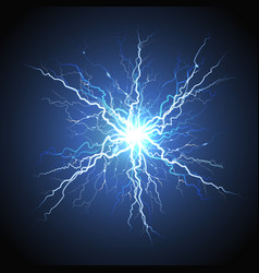 Electric lightning starburst realistic image vector