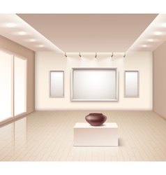 Exhibition gallery interior with brown vase vector