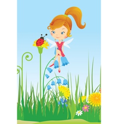 Fairy on a flower meadow and ladybug vector