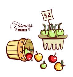 Farmers market apples vegetables vector