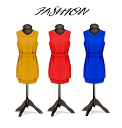 Fashion background with colorful dresses vector image vector image