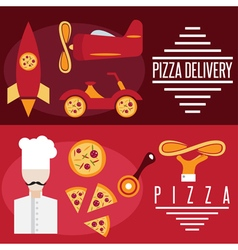 Flat design banners with pizza theme vector