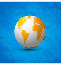 Globe map world 3d design on blue background vector image