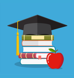 graduation cap on books stacked vector image