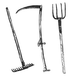 Hand sketch of farm tools vector
