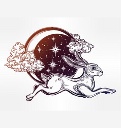 Hare or jackrabbit jumping over the moon vector