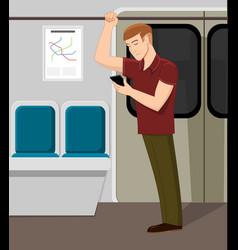 man watching phone in metro train vector image