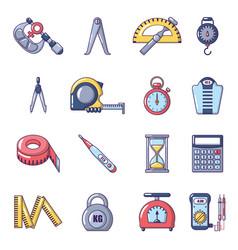 Measure precision icons set cartoon style vector