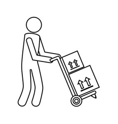 Monochrome contour with messenger and hand truck vector