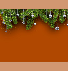 orange christmas background with spruce branches vector image vector image