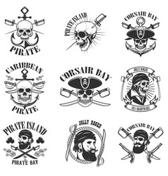 pirate emblems onwhite background corsair skulls vector image vector image