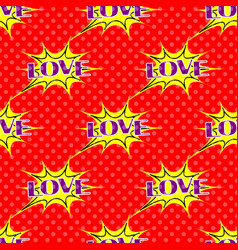 pop art pattern with the lettering love vector image vector image